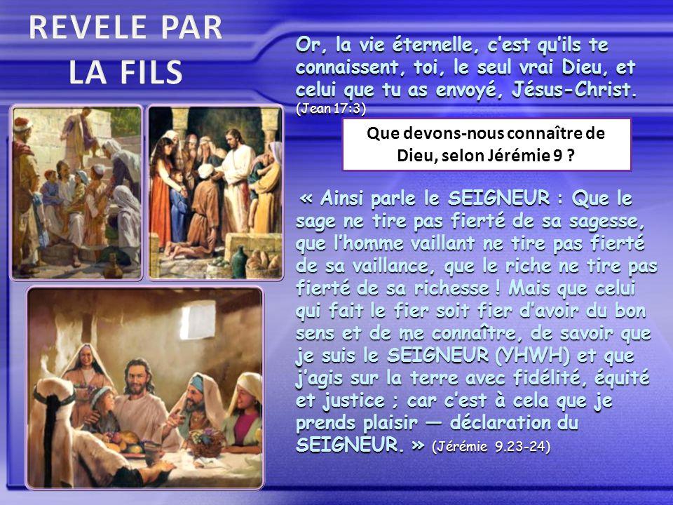 Or, la vie éternelle, c'est qu'ils te connaissent, toi, le seul vrai Dieu, et celui que tu as envoyé, Jésus-Christ.