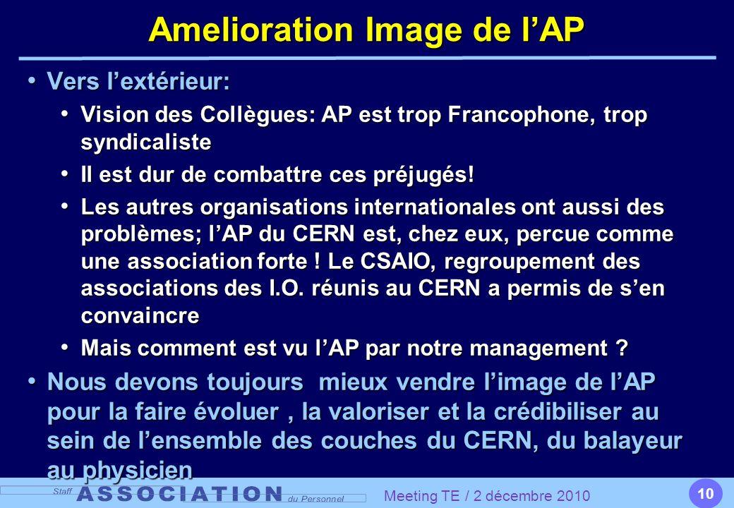 10 Amelioration Image de l'AP Vers l'extérieur: Vers l'extérieur: Vision des Collègues: AP est trop Francophone, trop syndicaliste Vision des Collègues: AP est trop Francophone, trop syndicaliste Il est dur de combattre ces préjugés.
