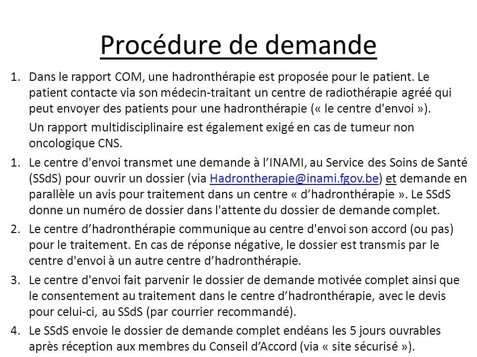 Procédure de demande 1.Dans le rapport COM, une hadronthérapie est proposée pour le patient. Le patient contacte via son médecin-traitant un centre de