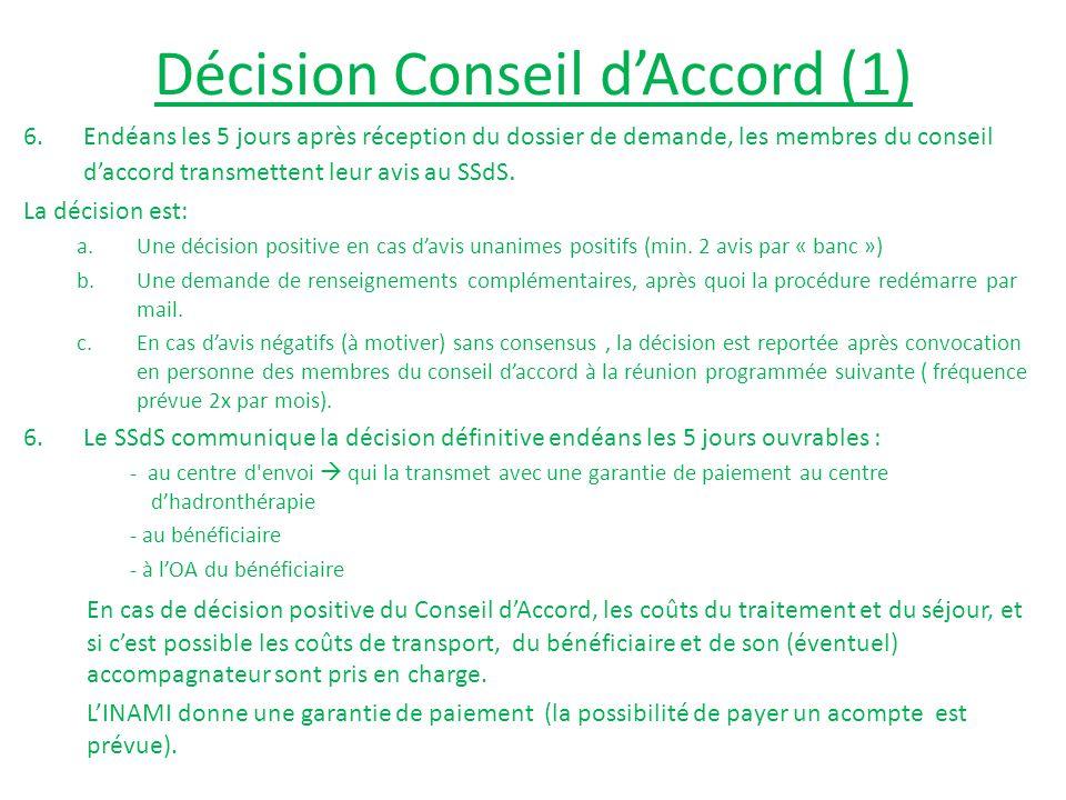 Décision Conseil d'Accord (1) 6.Endéans les 5 jours après réception du dossier de demande, les membres du conseil d'accord transmettent leur avis au SSdS.
