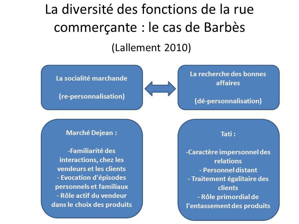 La diversité des fonctions de la rue commerçante : le cas de Barbès (Lallement 2010) La socialité marchande (re-personnalisation) La recherche des bon