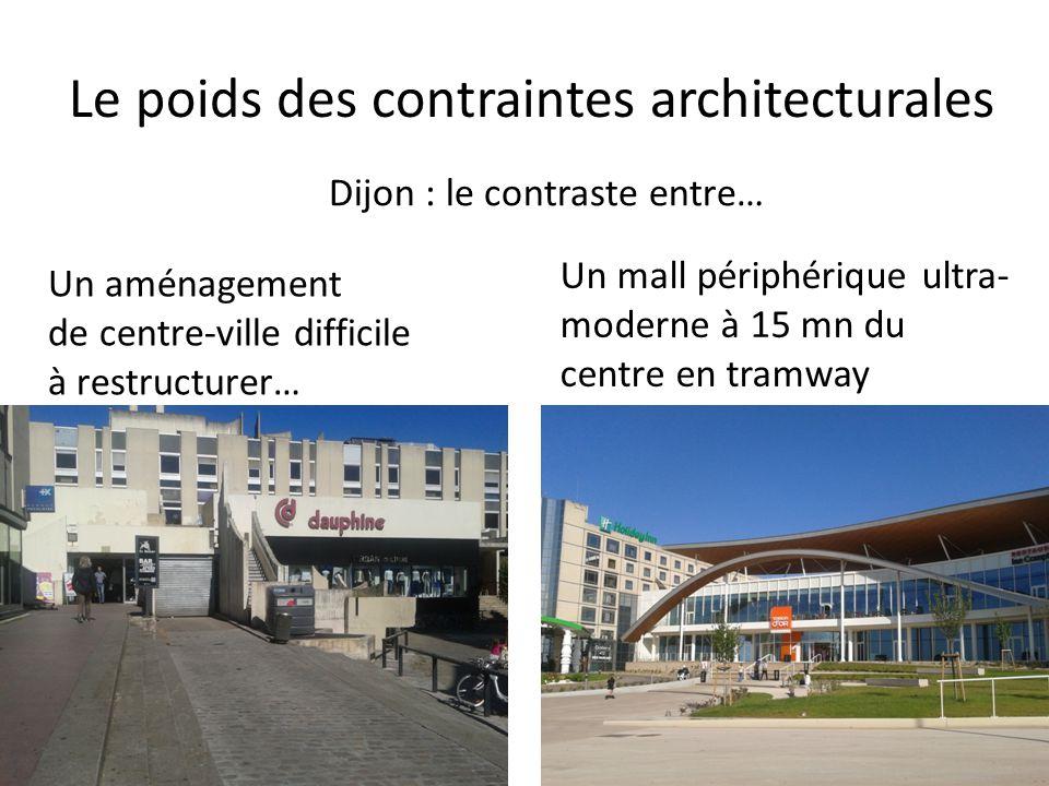 Le poids des contraintes architecturales Dijon : le contraste entre… Un aménagement de centre-ville difficile à restructurer… Un mall périphérique ultra- moderne à 15 mn du centre en tramway