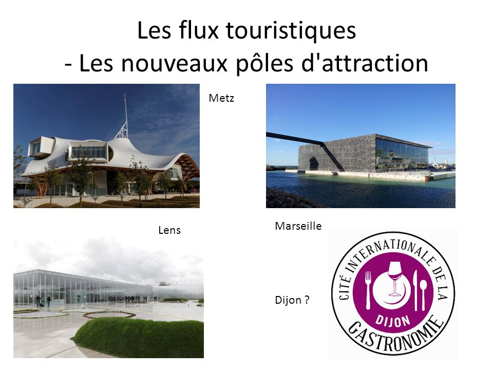 Les flux touristiques - Les nouveaux pôles d'attraction Metz Lens Marseille Dijon ?