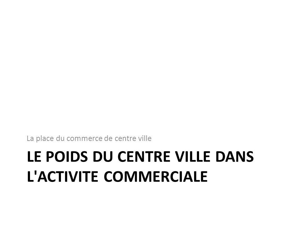 LE POIDS DU CENTRE VILLE DANS L'ACTIVITE COMMERCIALE La place du commerce de centre ville