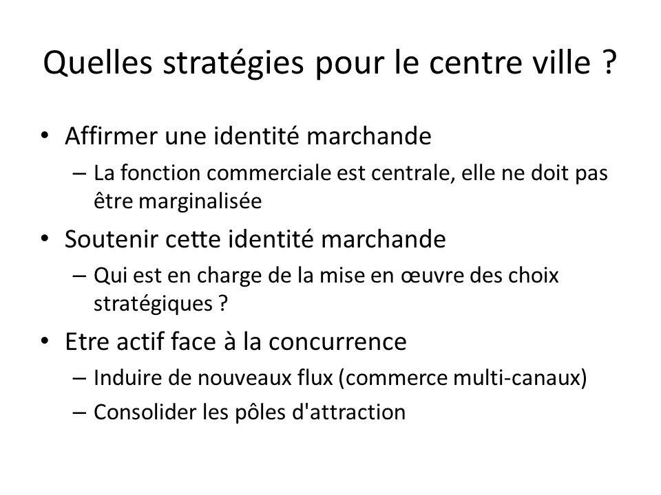 Quelles stratégies pour le centre ville ? Affirmer une identité marchande – La fonction commerciale est centrale, elle ne doit pas être marginalisée S