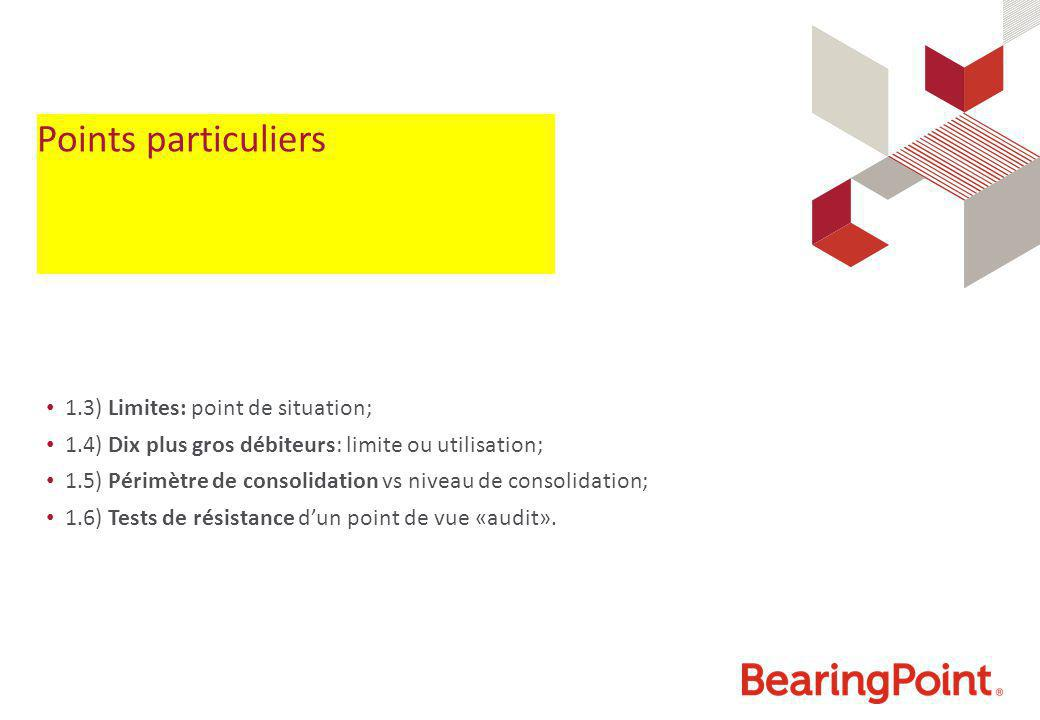Points particuliers 1.3) Limites: point de situation; 1.4) Dix plus gros débiteurs: limite ou utilisation; 1.5) Périmètre de consolidation vs niveau d
