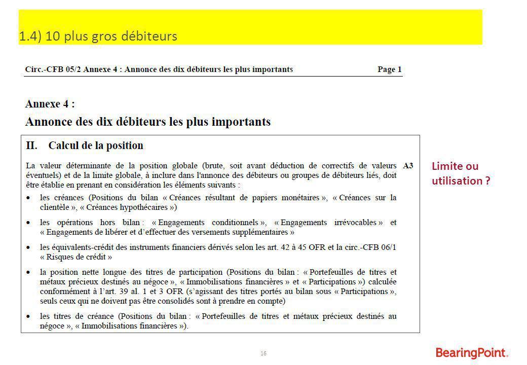 16 Limite ou utilisation ? 1.4) 10 plus gros débiteurs