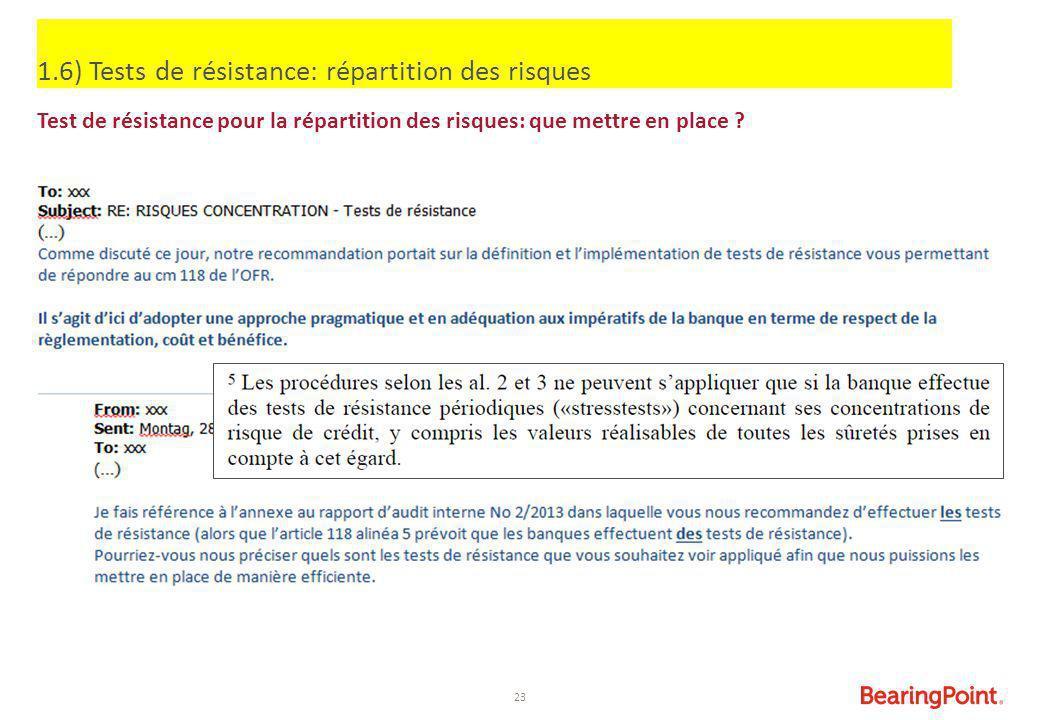 23 1.6) Tests de résistance: répartition des risques Test de résistance pour la répartition des risques: que mettre en place ?