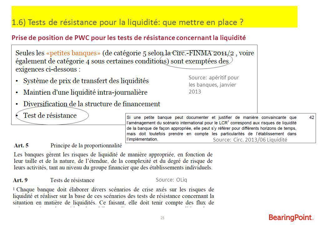25 1.6) Tests de résistance pour la liquidité: que mettre en place ? Prise de position de PWC pour les tests de résistance concernant la liquidité Sou