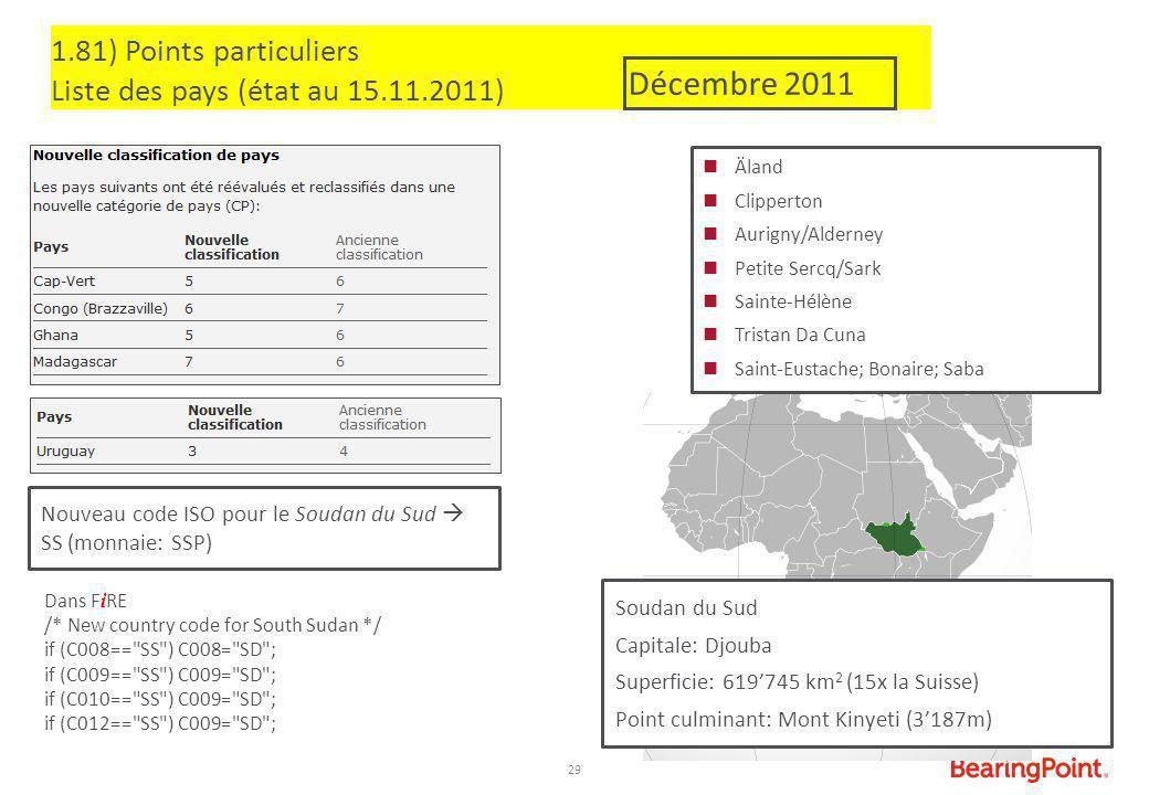 29 1.81) Points particuliers Liste des pays (état au 15.11.2011) Äland Clipperton Aurigny/Alderney Petite Sercq/Sark Sainte-Hélène Tristan Da Cuna Sai