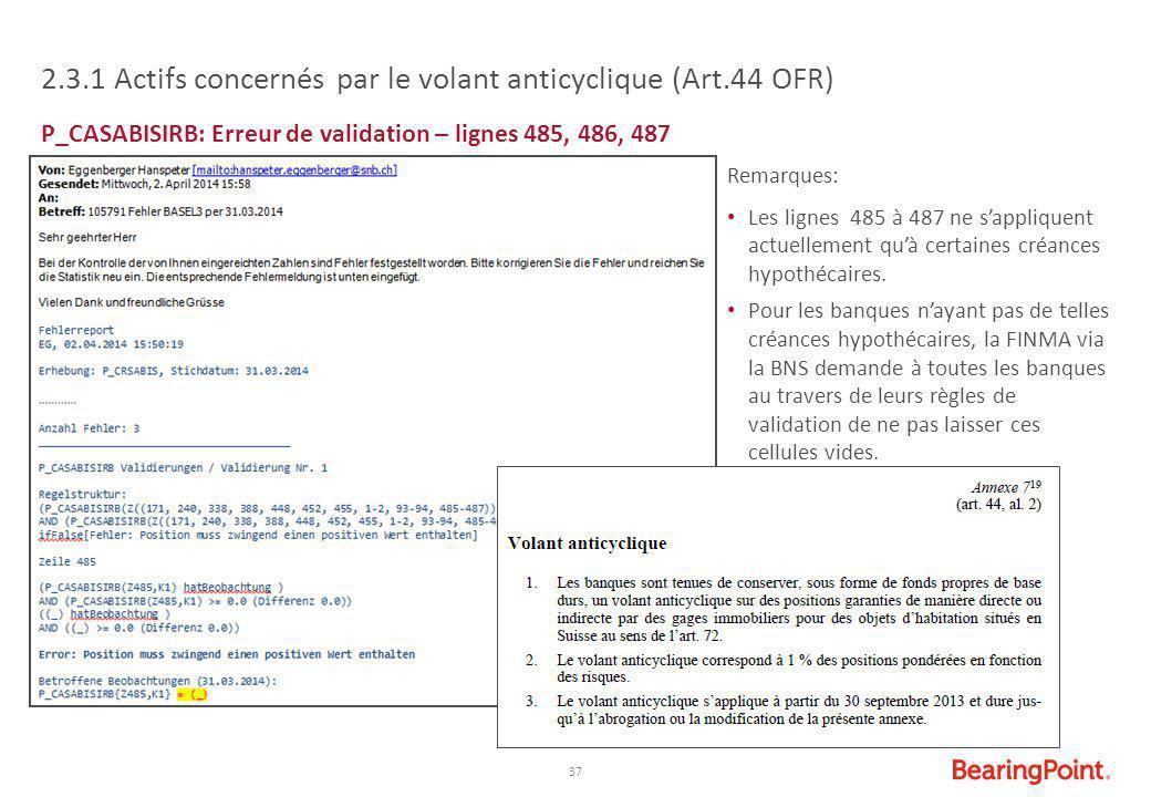 37 2.3.1 Actifs concernés par le volant anticyclique (Art.44 OFR) P_CASABISIRB: Erreur de validation – lignes 485, 486, 487 Remarques: Les lignes 485