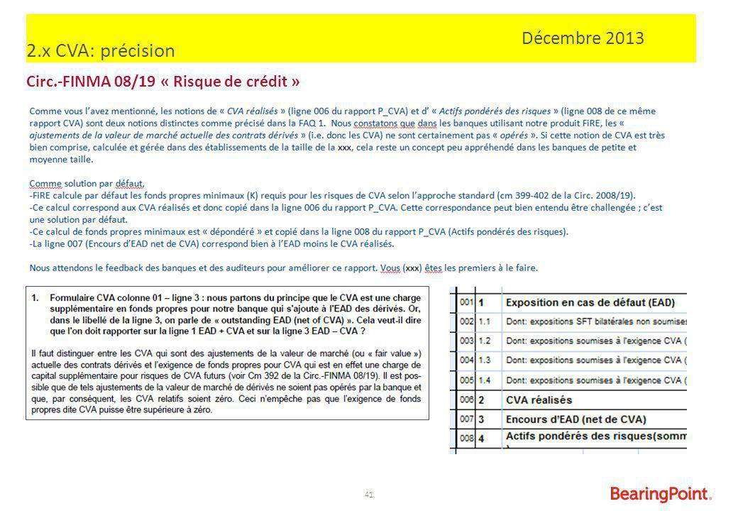 41 2.x CVA: précision Circ.-FINMA 08/19 « Risque de crédit » Décembre 2013