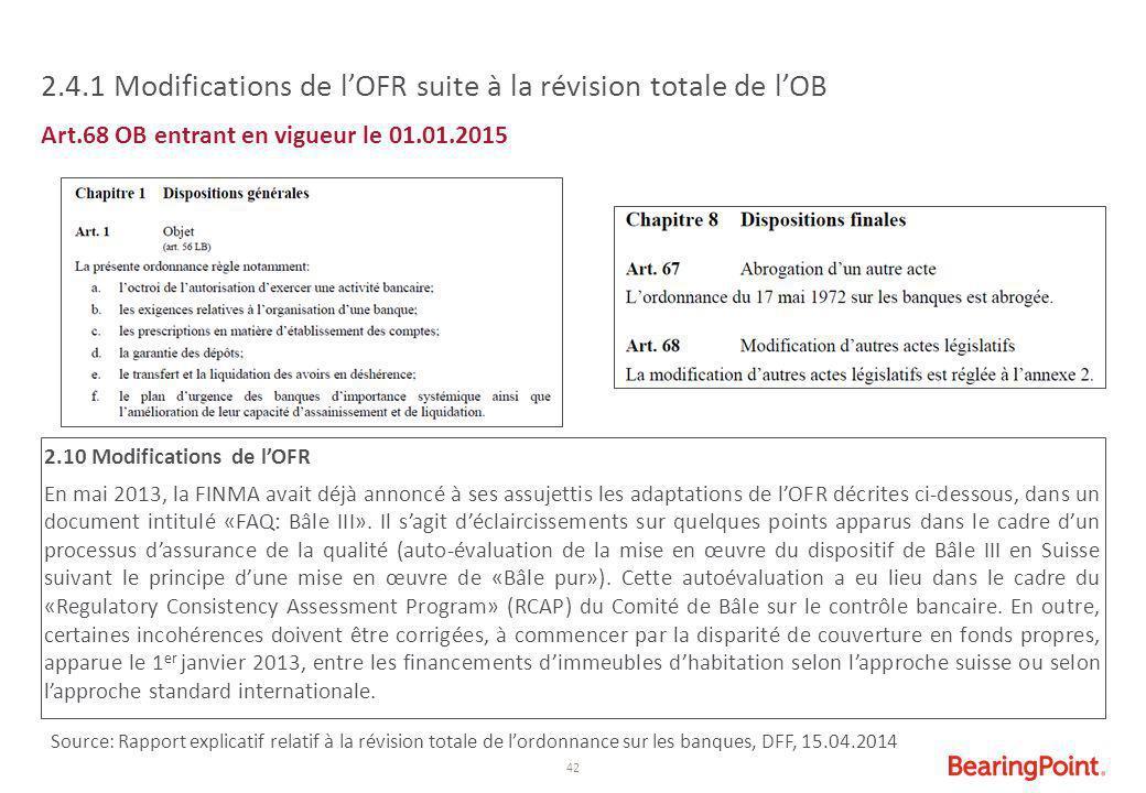 42 2.4.1 Modifications de l'OFR suite à la révision totale de l'OB Art.68 OB entrant en vigueur le 01.01.2015 2.10 Modifications de l'OFR En mai 2013,