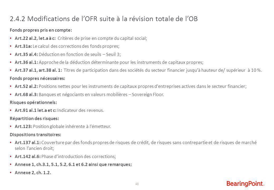 43 2.4.2 Modifications de l'OFR suite à la révision totale de l'OB Fonds propres pris en compte: Art.22 al.2, let.a à c: Critères de prise en compte d