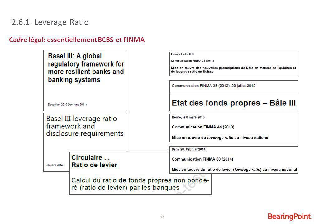 47 2.6.1. Leverage Ratio Cadre légal: essentiellement BCBS et FINMA