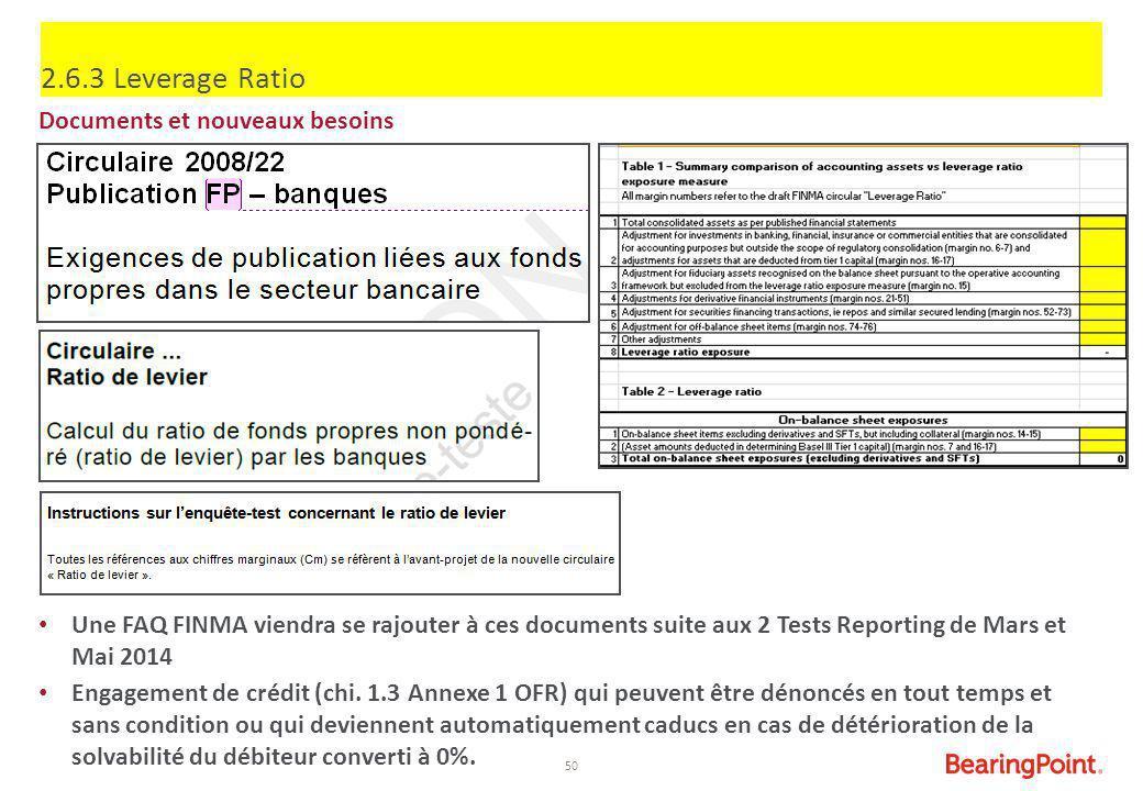 50 2.6.3 Leverage Ratio Documents et nouveaux besoins Une FAQ FINMA viendra se rajouter à ces documents suite aux 2 Tests Reporting de Mars et Mai 201