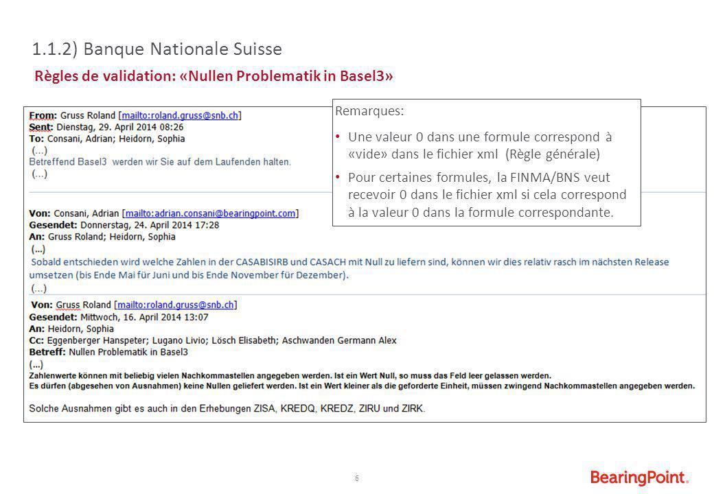 6 1.1.2) Banque Nationale Suisse Règles de validation: «Nullen Problematik in Basel3» Remarques: Une valeur 0 dans une formule correspond à «vide» dan