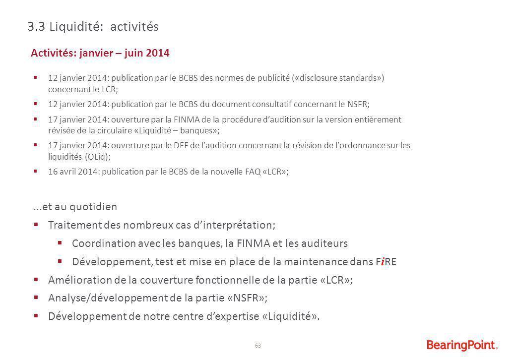 63 Activités: janvier – juin 2014  12 janvier 2014: publication par le BCBS des normes de publicité («disclosure standards») concernant le LCR;  12
