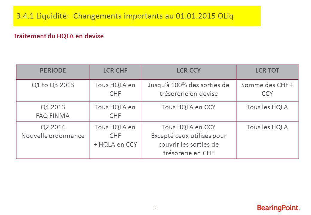 66 Traitement du HQLA en devise PERIODELCR CHFLCR CCYLCR TOT Q1 to Q3 2013Tous HQLA en CHF Jusqu'à 100% des sorties de trésorerie en devise Somme des