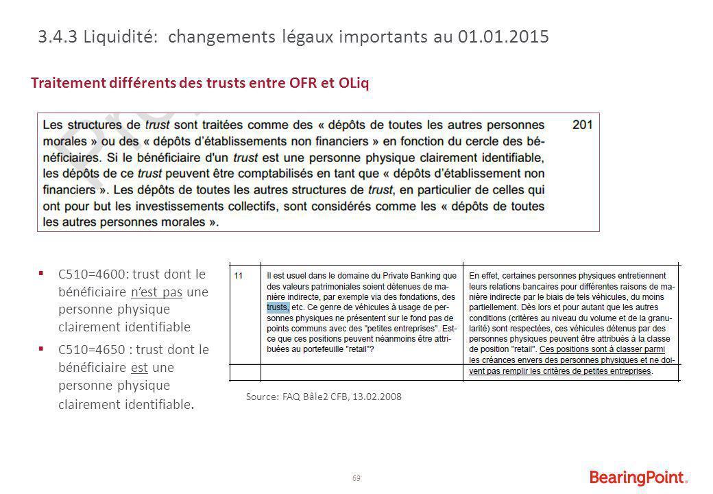 69 Traitement différents des trusts entre OFR et OLiq  C510=4600: trust dont le bénéficiaire n'est pas une personne physique clairement identifiable