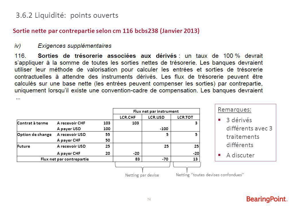 74 Sortie nette par contrepartie selon cm 116 bcbs238 (Janvier 2013) 3.6.2 Liquidité: points ouverts … Flux net par instrument LCR.CHFLCR.USDLCR.TOT C