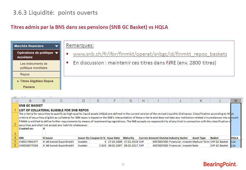 75 Titres admis par la BNS dans ses pensions (SNB GC Basket) vs HQLA 3.6.3 Liquidité: points ouverts Remarques:  www.snb.ch/fr/ifor/finmkt/operat/snb