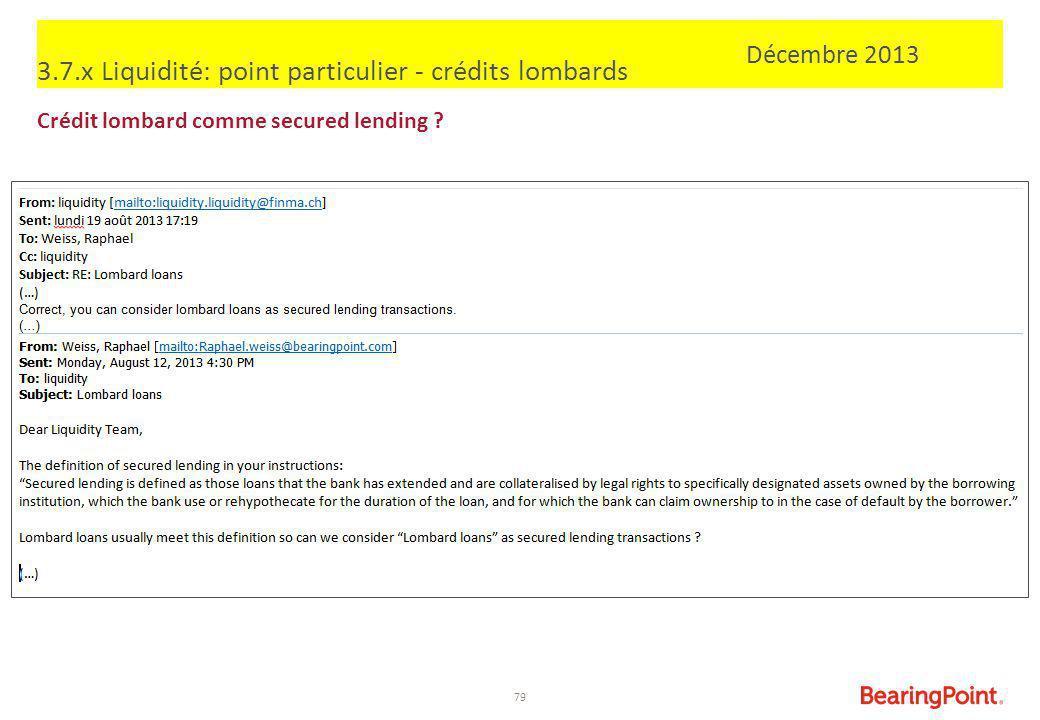 79 3.7.x Liquidité: point particulier - crédits lombards Crédit lombard comme secured lending ? Décembre 2013