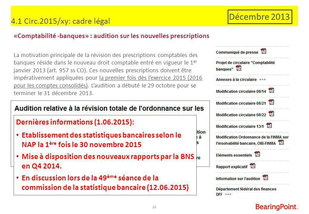 84 «Comptabilité -banques» : audition sur les nouvelles prescriptions La motivation principale de la révision des prescriptions comptables des banques