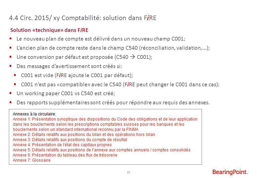 89 4.4 Circ. 2015/ xy Comptabilité: solution dans F i RE Solution «technique» dans F i RE  Le nouveau plan de compte est délivré dans un nouveau cham