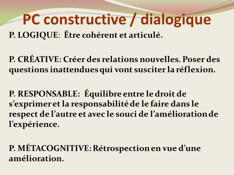 PC constructive / dialogique P.LOGIQUE: Être cohérent et articulé.