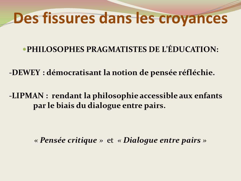 Des fissures dans les croyances PHILOSOPHES PRAGMATISTES DE L'ÉDUCATION: -DEWEY : démocratisant la notion de pensée réfléchie.