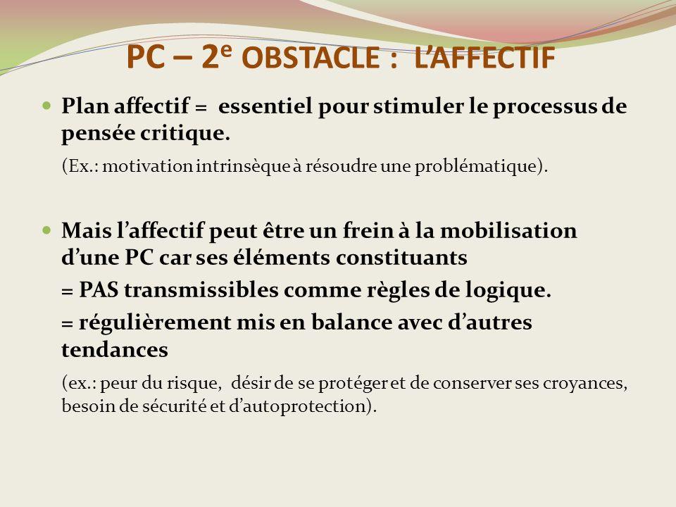 PC – 2 e OBSTACLE : L'AFFECTIF Plan affectif = essentiel pour stimuler le processus de pensée critique.