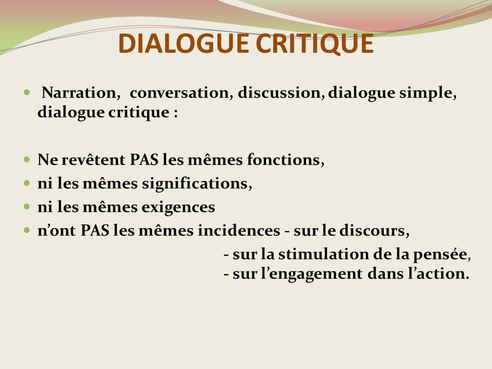 DIALOGUE CRITIQUE Narration, conversation, discussion, dialogue simple, dialogue critique : Ne revêtent PAS les mêmes fonctions, ni les mêmes significations, ni les mêmes exigences n'ont PAS les mêmes incidences - sur le discours, - sur la stimulation de la pensée, - sur l'engagement dans l'action.