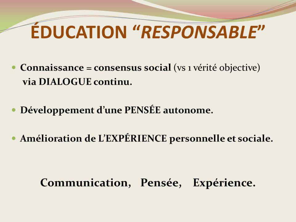 ÉDUCATION RESPONSABLE Connaissance = consensus social (vs 1 vérité objective) via DIALOGUE continu.