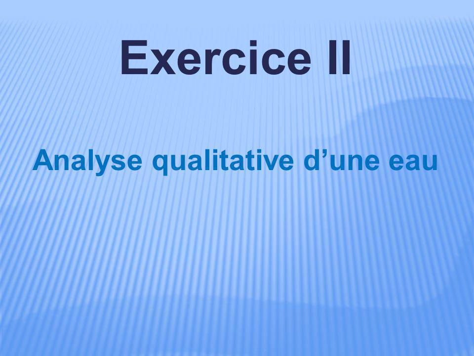 Exercice II Analyse qualitative d'une eau