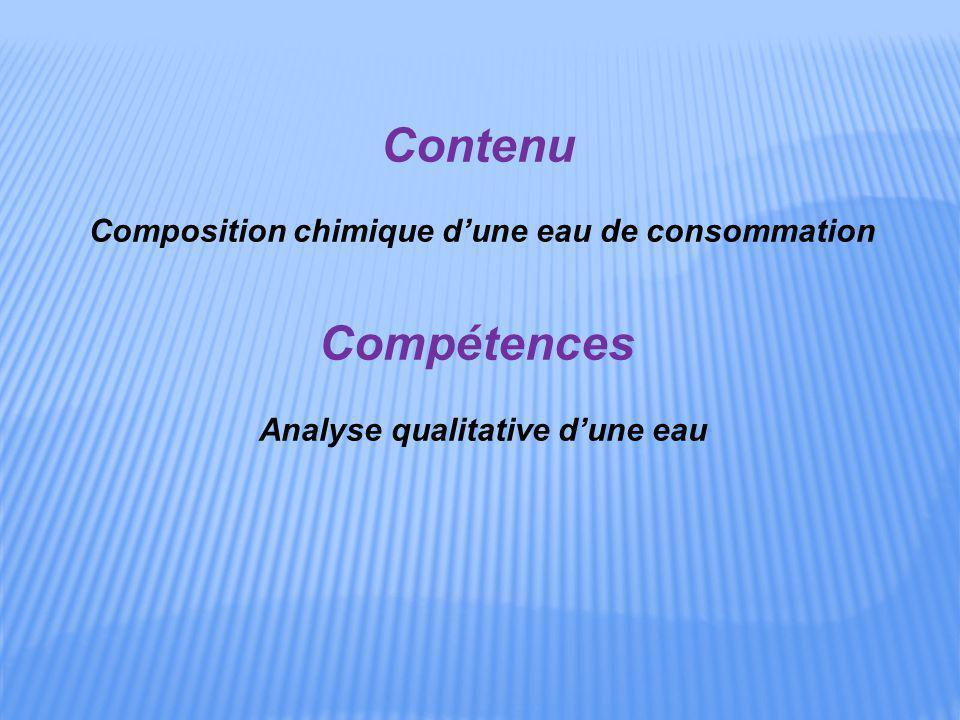 Contenu Composition chimique d'une eau de consommation Compétences Analyse qualitative d'une eau