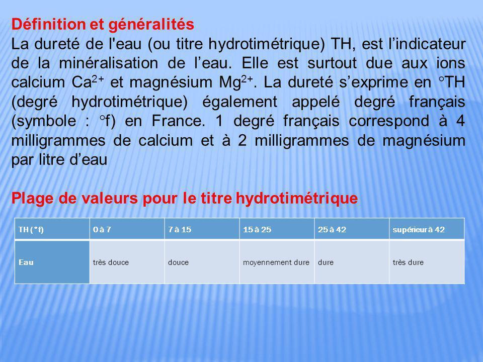 Définition et généralités La dureté de l'eau (ou titre hydrotimétrique) TH, est l'indicateur de la minéralisation de l'eau. Elle est surtout due aux i
