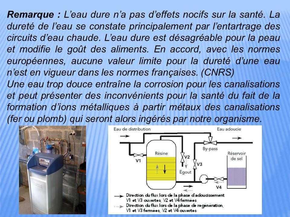 Remarque : L'eau dure n'a pas d'effets nocifs sur la santé. La dureté de l'eau se constate principalement par l'entartrage des circuits d'eau chaude.