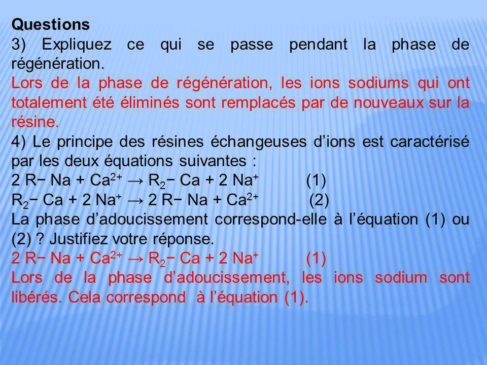 Questions 3) Expliquez ce qui se passe pendant la phase de régénération. Lors de la phase de régénération, les ions sodiums qui ont totalement été éli