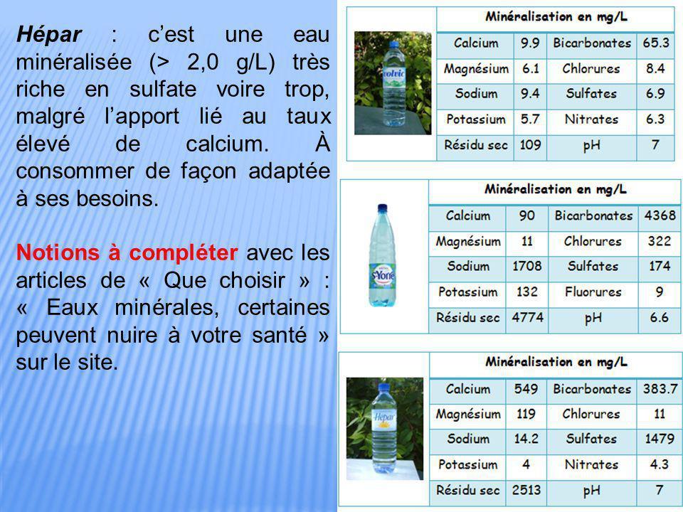 Hépar : c'est une eau minéralisée (> 2,0 g/L) très riche en sulfate voire trop, malgré l'apport lié au taux élevé de calcium. À consommer de façon ada