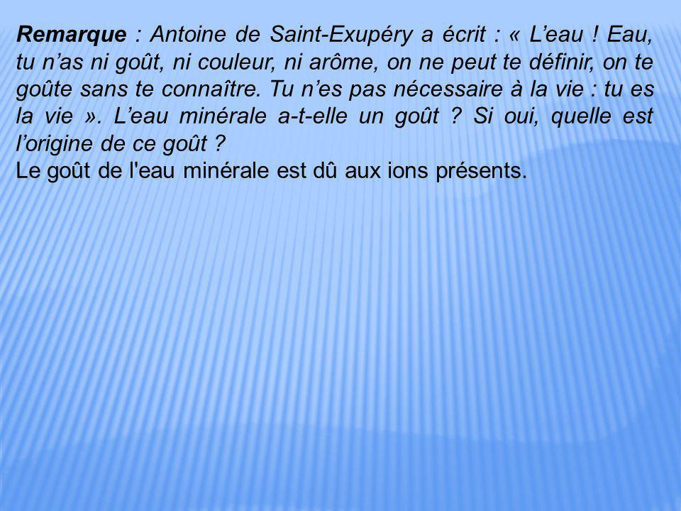 Remarque : Antoine de Saint-Exupéry a écrit : « L'eau ! Eau, tu n'as ni goût, ni couleur, ni arôme, on ne peut te définir, on te goûte sans te connaît