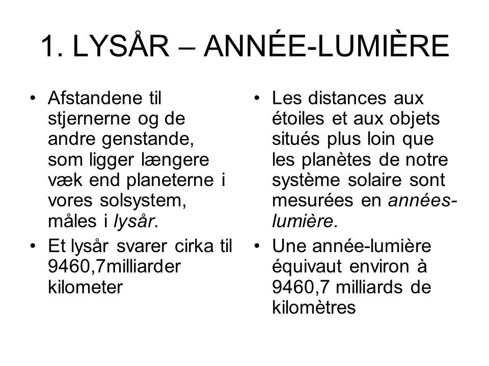 1. LYSÅR – ANNÉE-LUMIÈRE Afstandene til stjernerne og de andre genstande, som ligger længere væk end planeterne i vores solsystem, måles i lysår. Et l