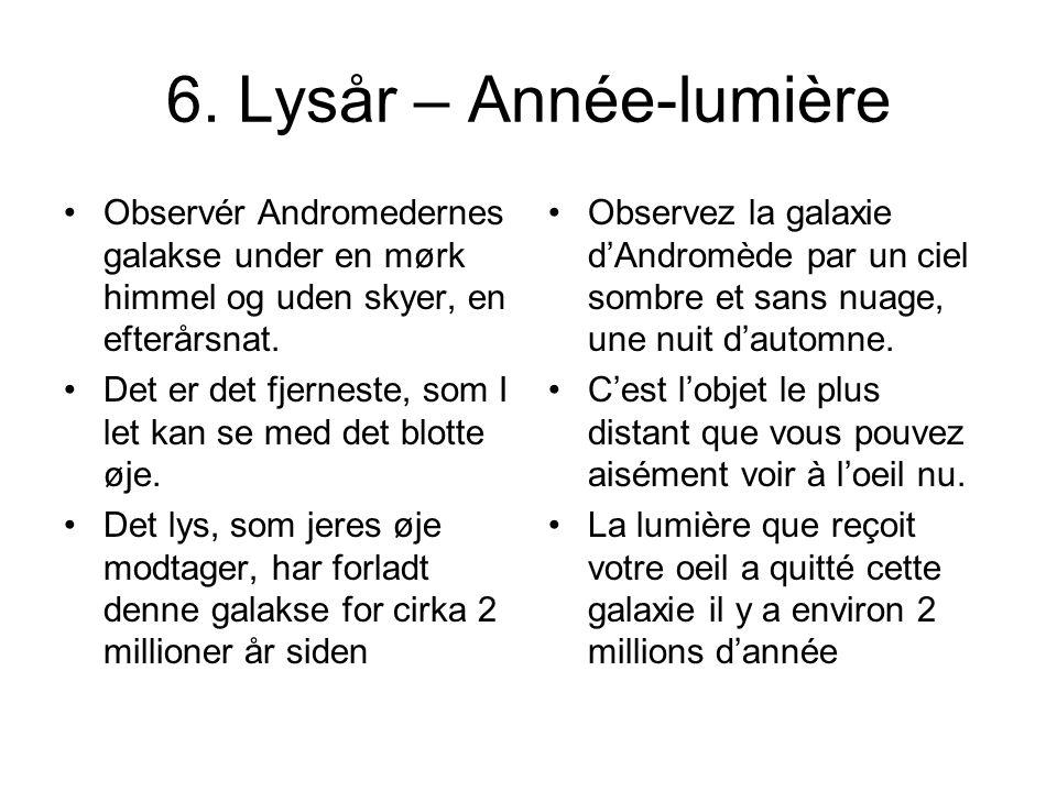 6. Lysår – Année-lumière Observér Andromedernes galakse under en mørk himmel og uden skyer, en efterårsnat. Det er det fjerneste, som I let kan se med