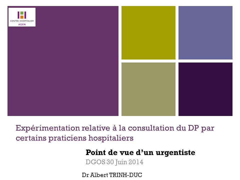 + Expérimentation relative à la consultation du DP par certains praticiens hospitaliers Point de vue d'un urgentiste DGOS 30 Juin 2014 Dr Albert TRINH
