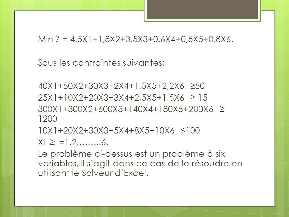 Min Z = 4,5X1+1,8X2+3,5X3+0,6X4+0,5X5+0,8X6. Sous les contraintes suivantes: 40X1+50X2+30X3+2X4+1,5X5+2,2X6 ≥50 25X1+10X2+20X3+3X4+2,5X5+1,5X6 ≥ 15 30
