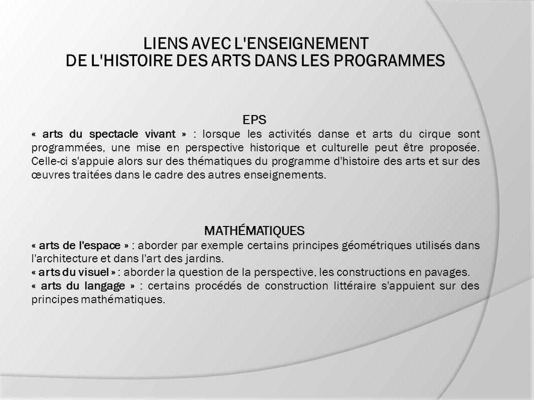 LIENS AVEC L'ENSEIGNEMENT DE L'HISTOIRE DES ARTS DANS LES PROGRAMMES EPS « arts du spectacle vivant » : lorsque les activités danse et arts du cirque