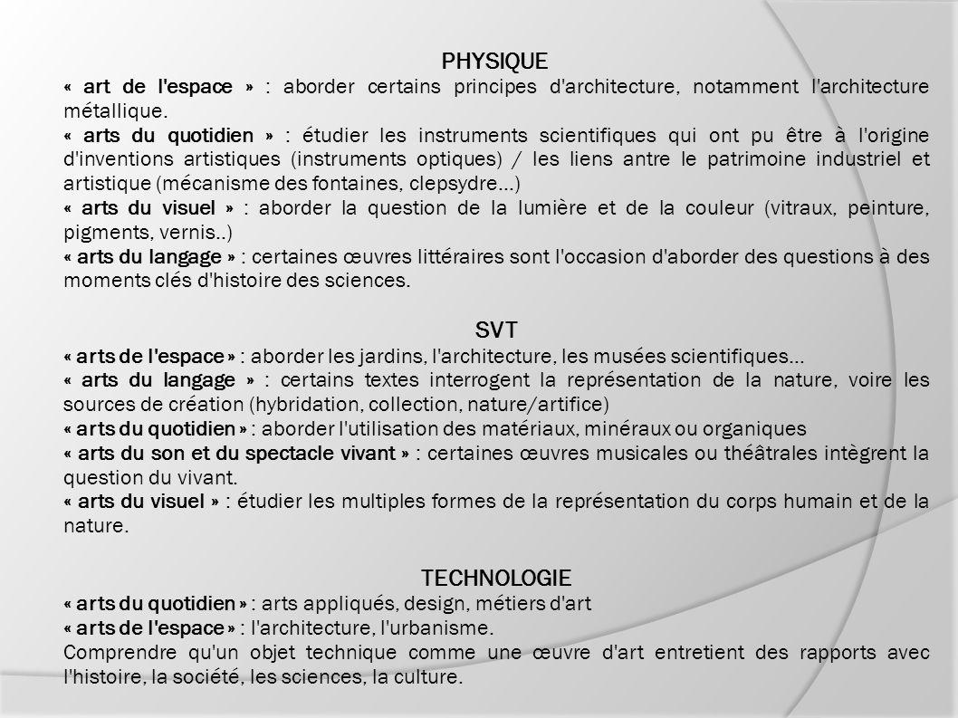 PHYSIQUE « art de l'espace » : aborder certains principes d'architecture, notamment l'architecture métallique. « arts du quotidien » : étudier les ins