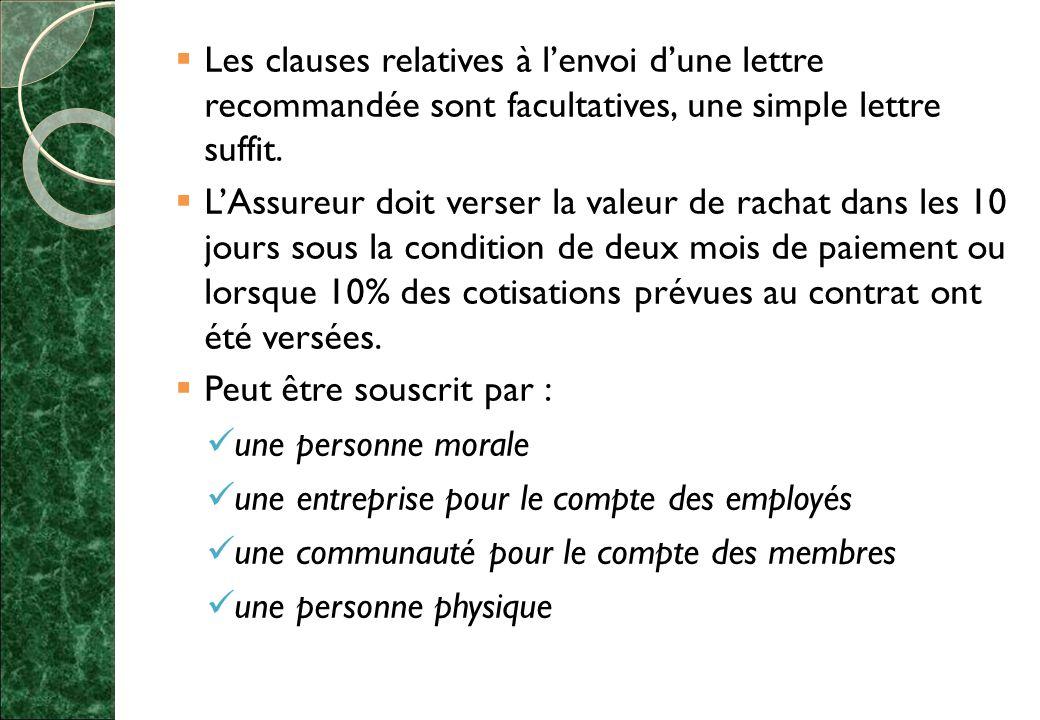  Les clauses relatives à l'envoi d'une lettre recommandée sont facultatives, une simple lettre suffit.
