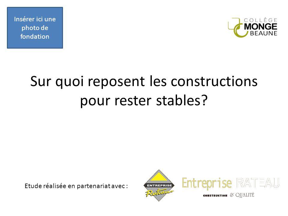 Sur quoi reposent les constructions pour rester stables? Insérer ici une photo de fondation Etude réalisée en partenariat avec :