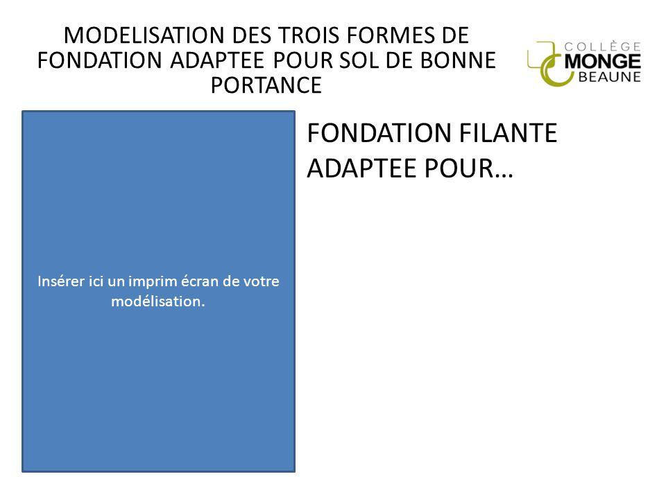 MODELISATION DES TROIS FORMES DE FONDATION ADAPTEE POUR SOL DE BONNE PORTANCE FONDATION FILANTE ADAPTEE POUR… Insérer ici un imprim écran de votre mod